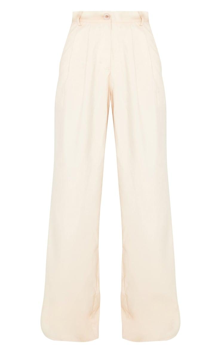 Cream Wide Leg Woven Trousers 5