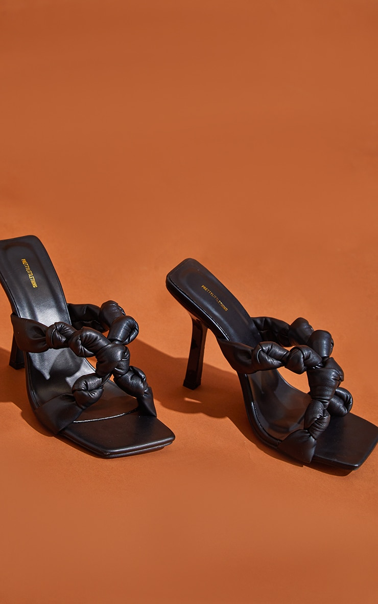 Black PU Square Toe Knotted Strap Heeled Mules 3