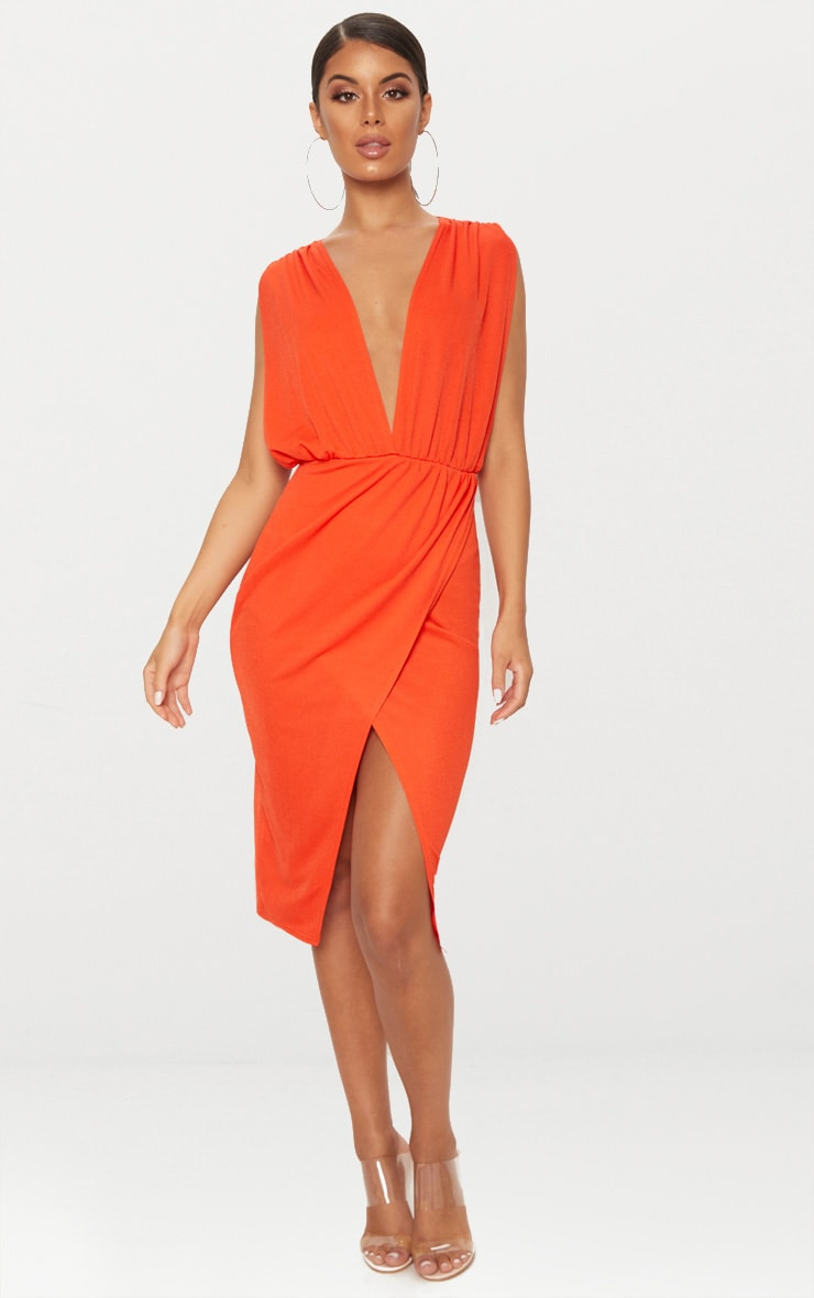 Bright Orange Ruched Shoulder Plunge Midi Dress