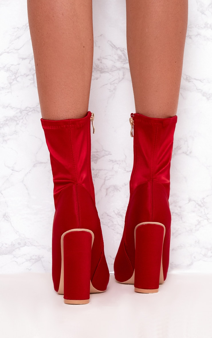 Red Stretch Satin Sock Ankle Boots 4