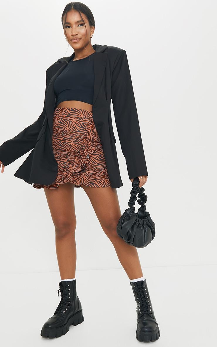 Rust Zebra Print Frill Hem Wrap Mini Skirt 1