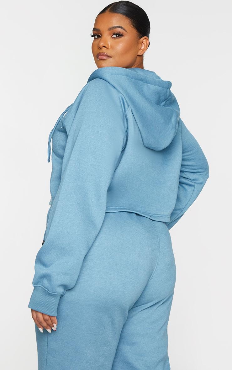 PRETTYLITTLETHING Plus Blue Badge Zip Up Cropped Hoodie 2