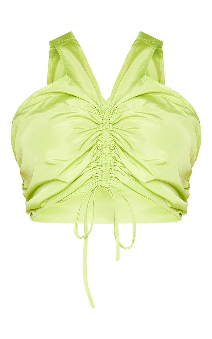 Plus Dark Lime Shell Ruched Front Crop Top 5