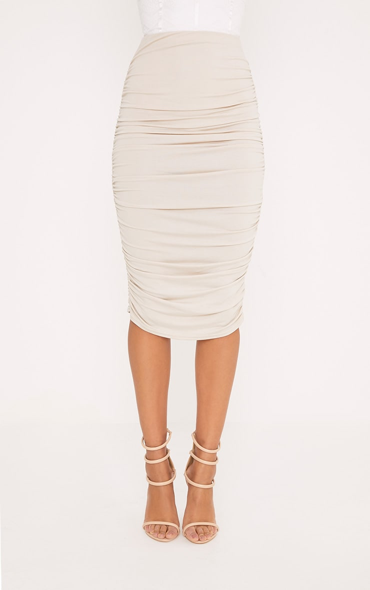 Stone Second Skin Ruched Side Midi Skirt 2