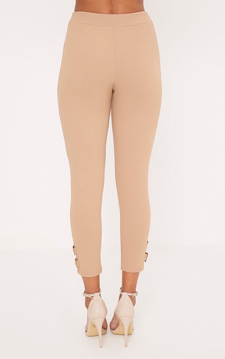 Orlane Taupe Buckle Fitted Trousers 4