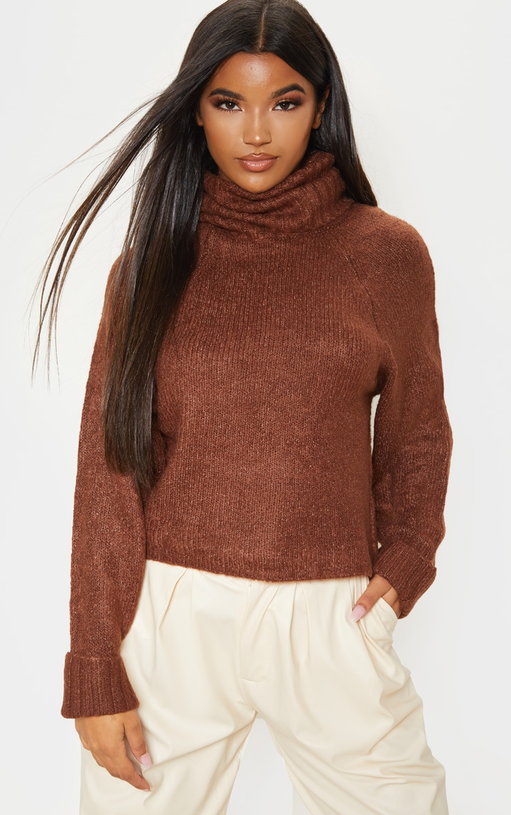 Brown Fluffy Chunky Roll Neck Jumper 1