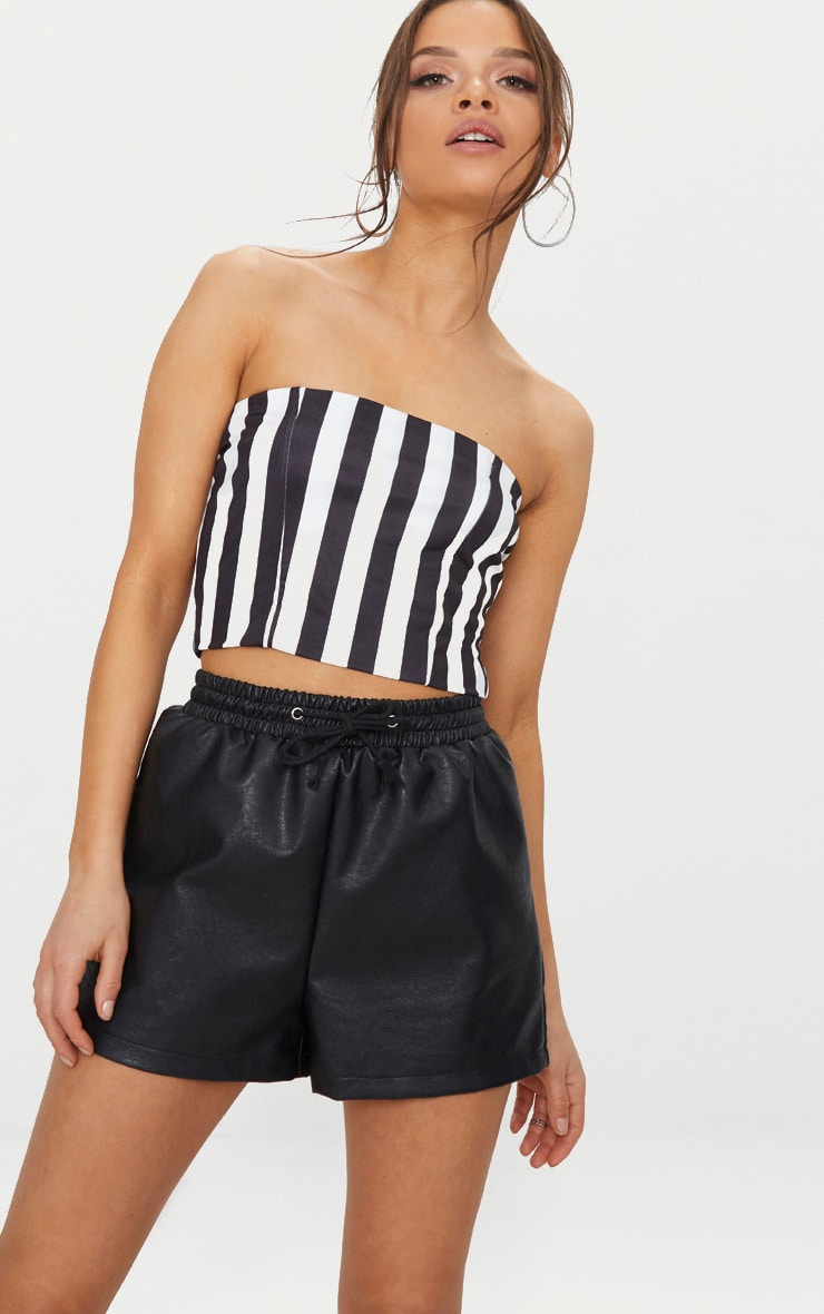Monochrome Slinky Bandeau Crop Top  1