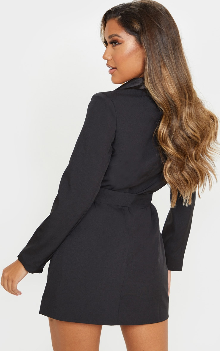 Black Gold Button Satin Detail Blazer Dress 2