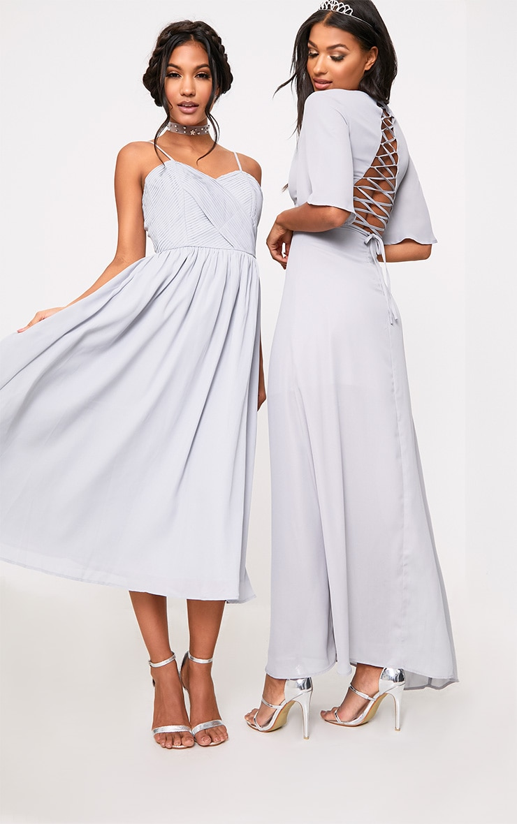 Lucilla Ice Grey Lace Up Detail Maxi Dress 6