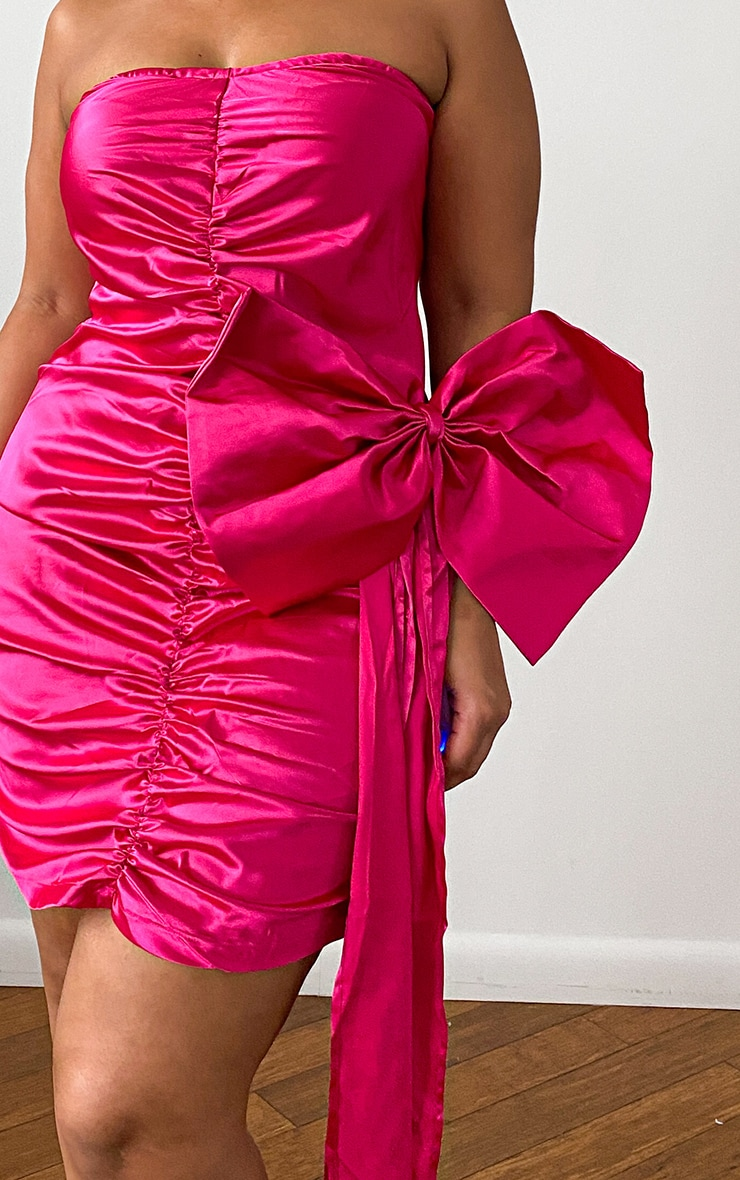 Plus Pink Satin Ruched Front Bow Detail Bodycon Dress 4