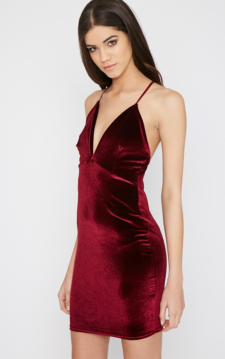 Zina Wine Velvet Mini Dress 3
