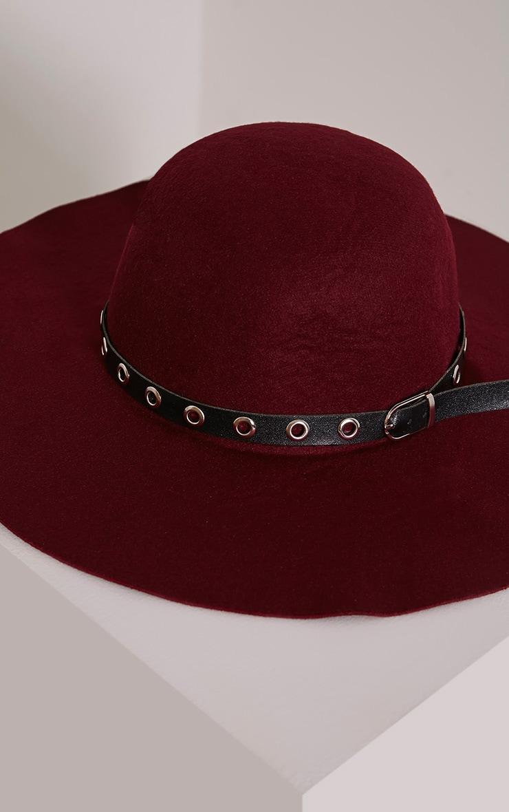 Leelah Burgundy Eyelet Trim Floppy Hat 4