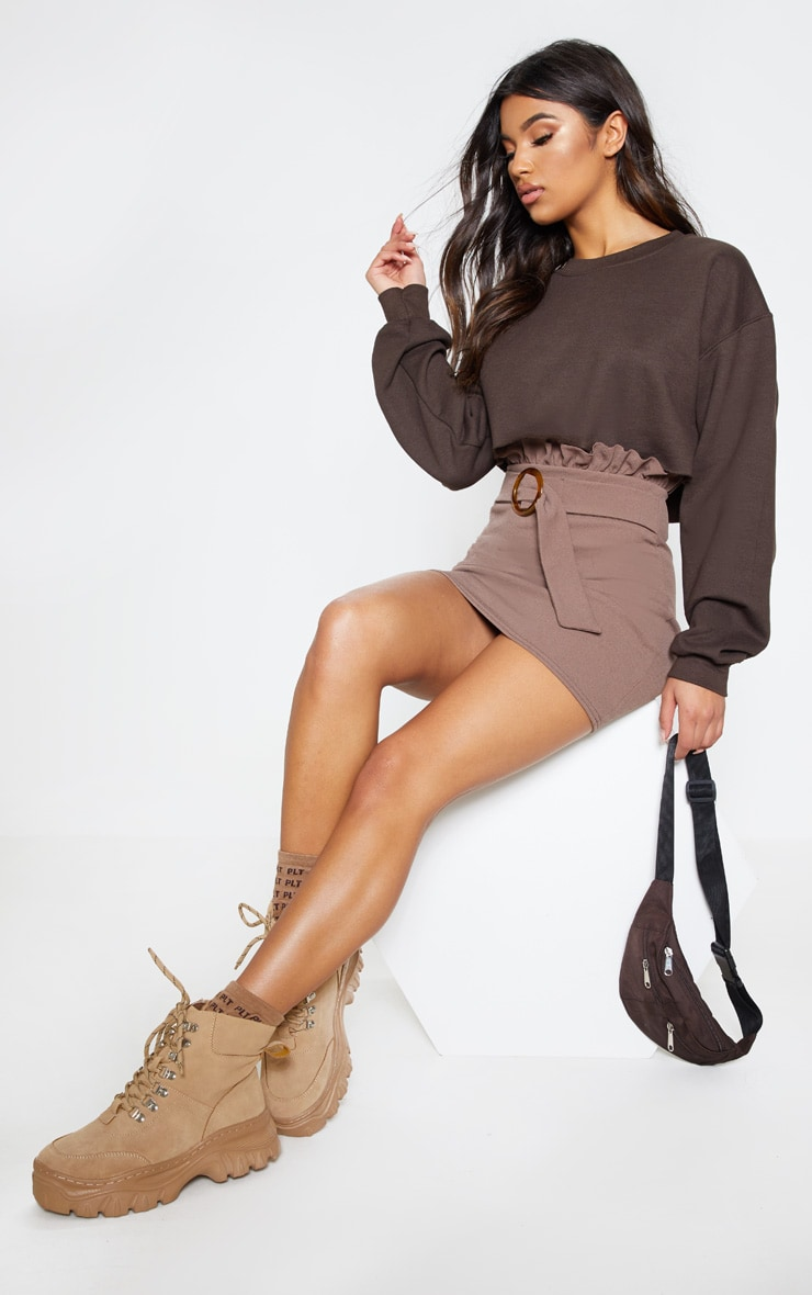 Mocha Tortoiseshell O Ring Belt Paperbag Mini Skirt 1