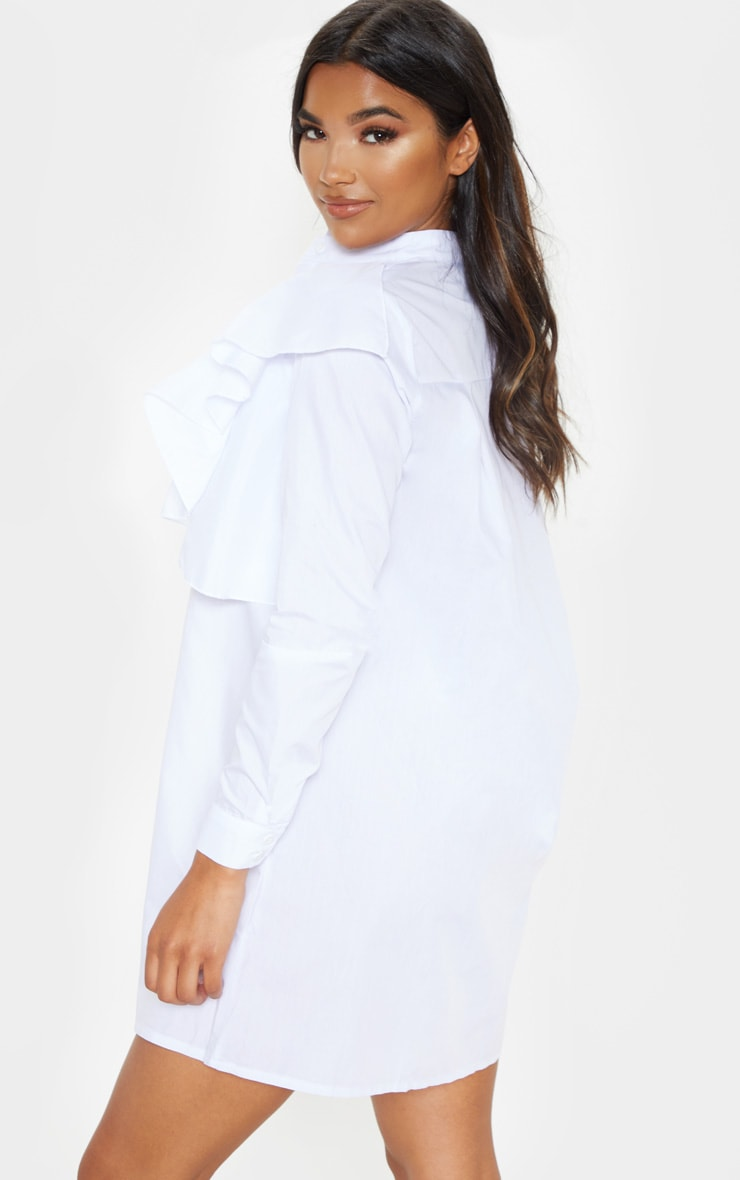 Flora White Frill Front Shirt Dress 2