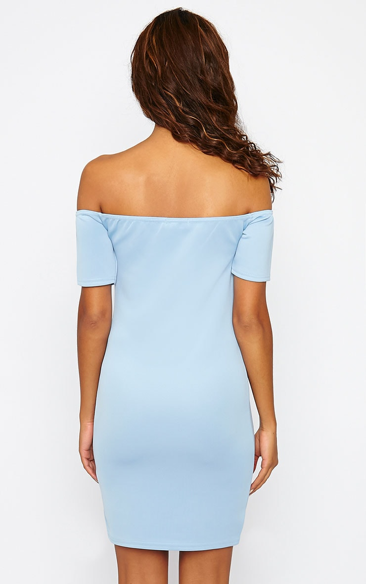 Basic Powder Blue Bardot Bodycon Dress 2
