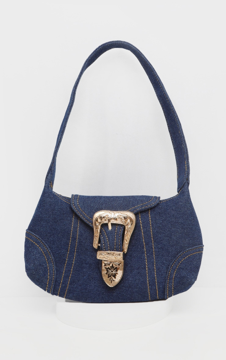 Denim Western Buckle 90's Shoulder Bag 5