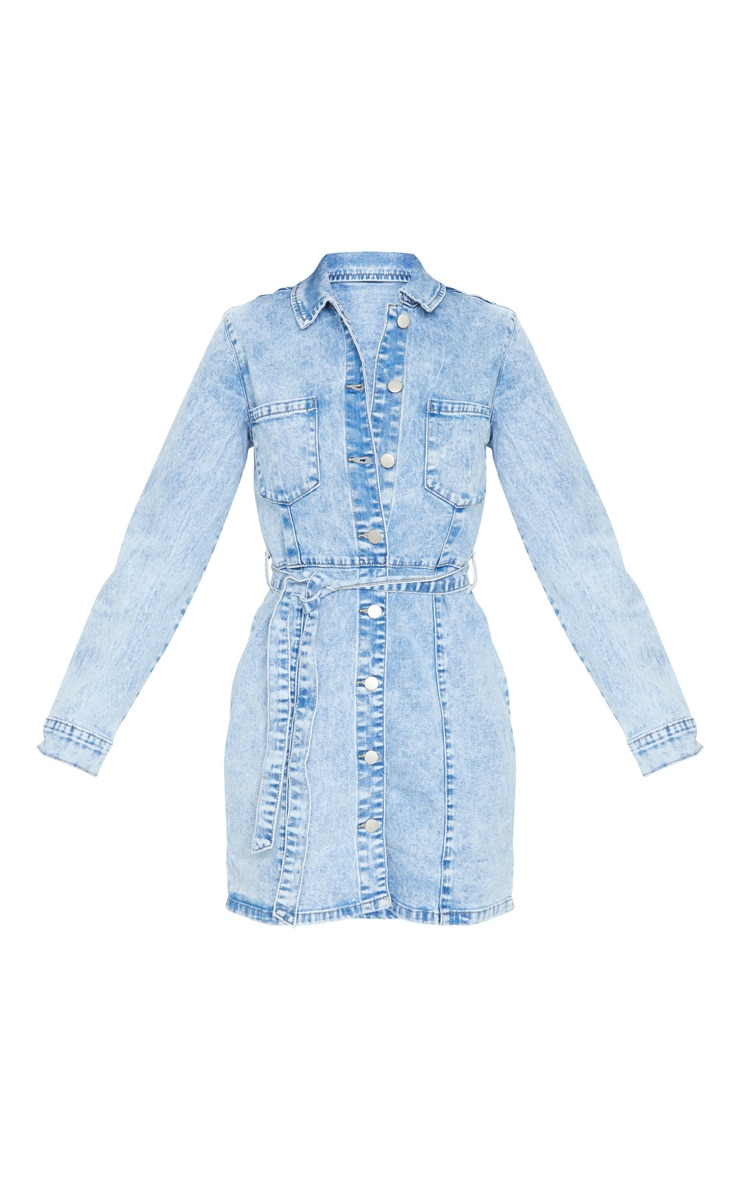 Acid Blue Wash Button Through Tie Waist Denim Dress 5