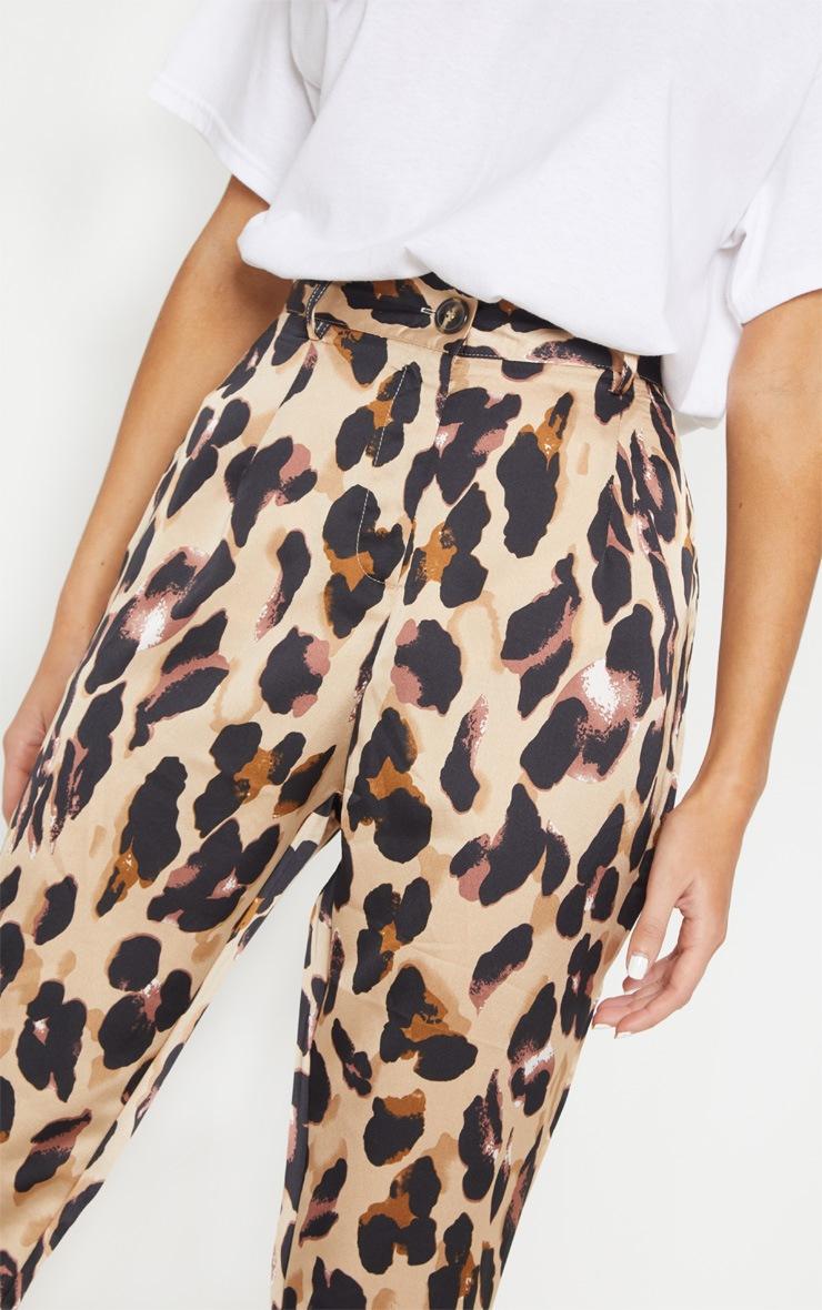 Leopard Print Satin Feel Printed Slim Leg Trouser 5