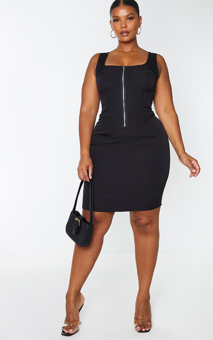 Plus Black Corset Detail Zip Front Midi Dress 3