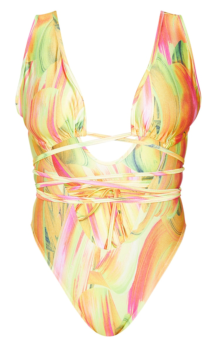 Orange Abstract Cut Out Wrap Around Swimsuit 6