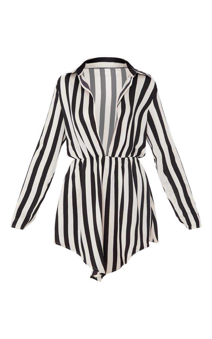 Black Striped Pointy Hem Shirt Dress 3