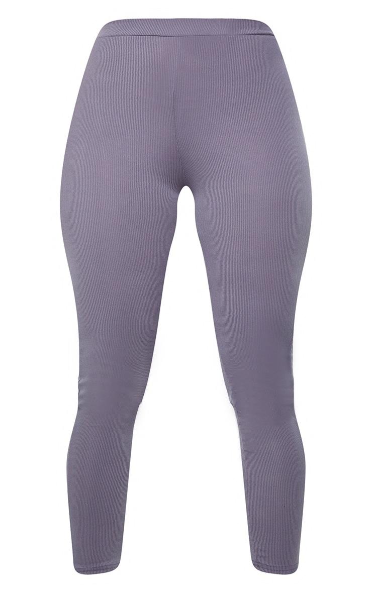Shape Grey Rib Ruched Bum Detail Leggings 5