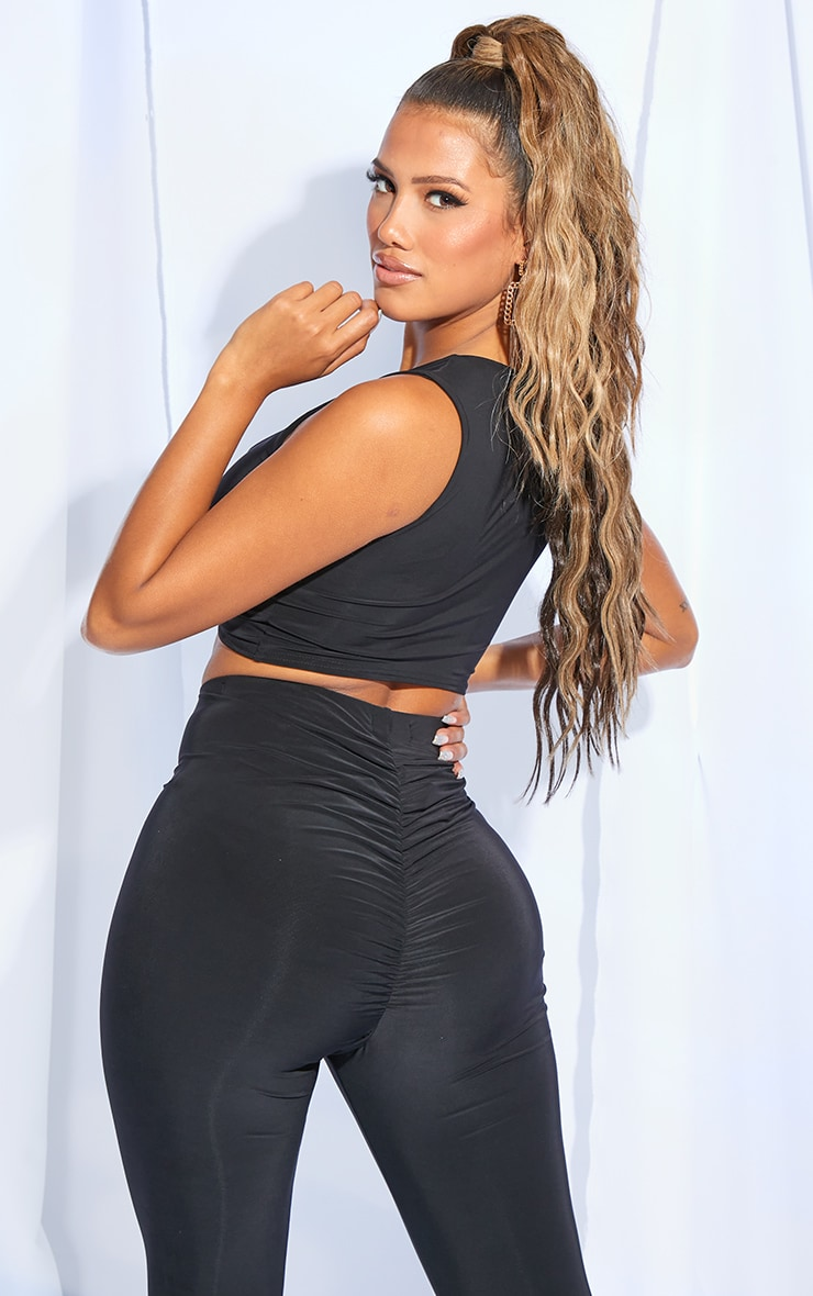 Shape Black Slinky Ruched Front Sleeveless Crop Top 2