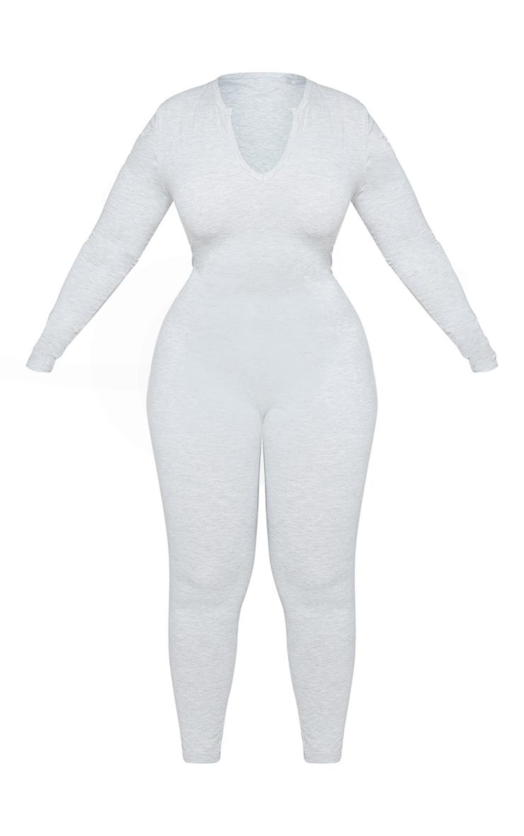 Plus Grey Seamless Cotton Elastane V Neck Jumpsuit 5