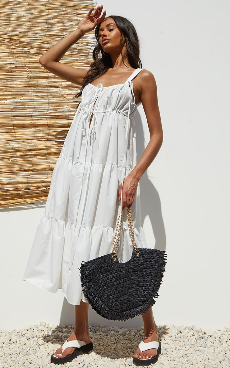 White Woven Tie Bust Tiered Strappy Midaxi Dress image 1