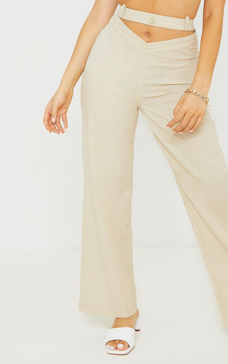 Petite Stone Cut Out Waist Band Detail Pants 4