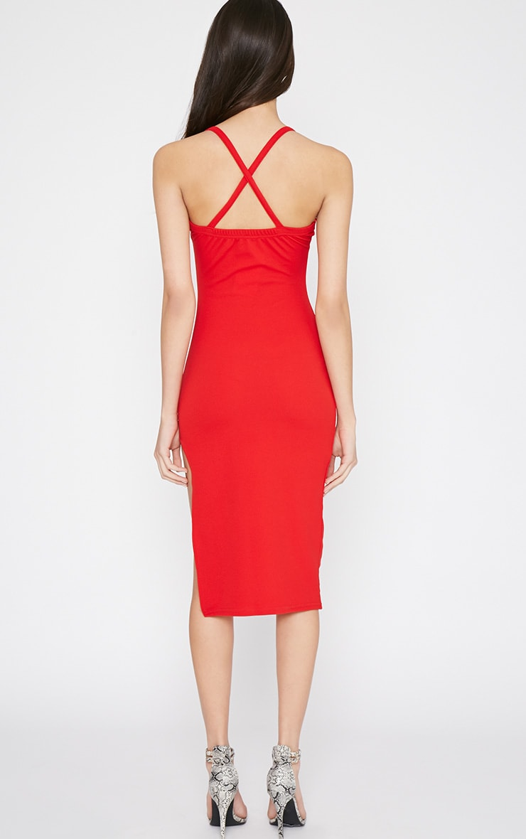Tyler Red Chain Strap Bodycon Dress 2