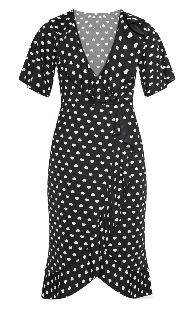 Black Heart Print Frill Detail Wrap Midi Dress 3