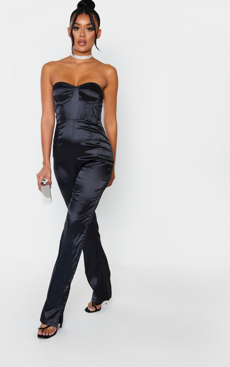 Black Satin Corset Bandeau Jumpsuit 4