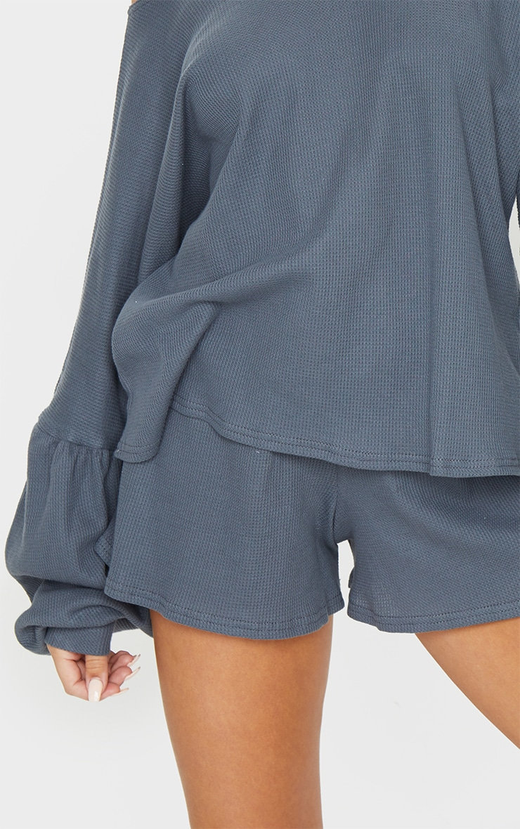 Grey Waffle Knit Shorts 5