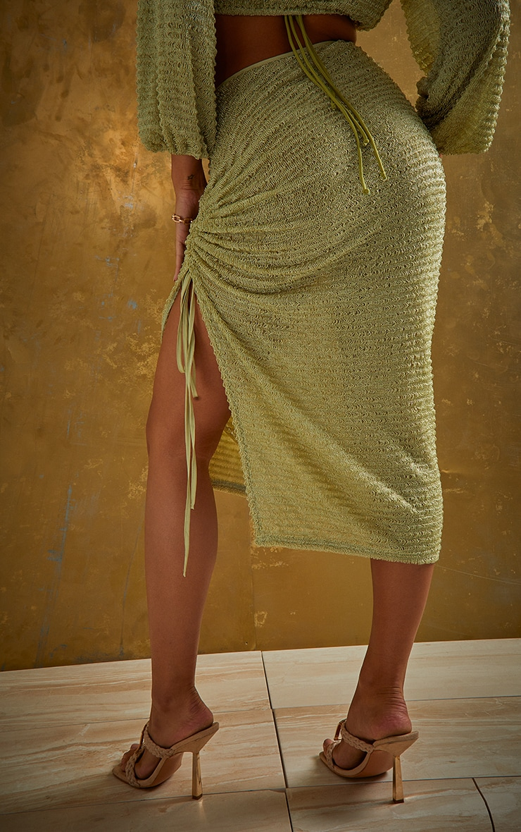 Green Textured Cut Out Ruched Side Beach Skirt 3