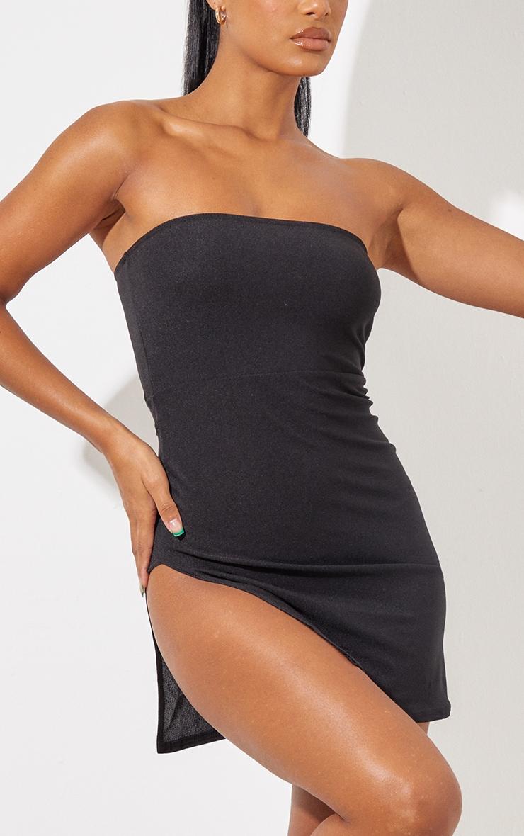 Black Crepe Split Side Bandeau Bodycon Dress 5