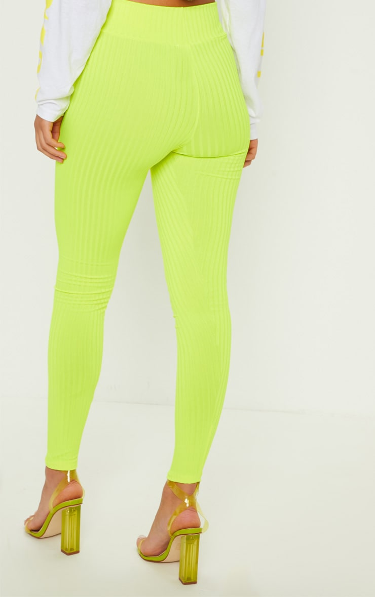 Neon Yellow Ribbed High Waisted Legging 4