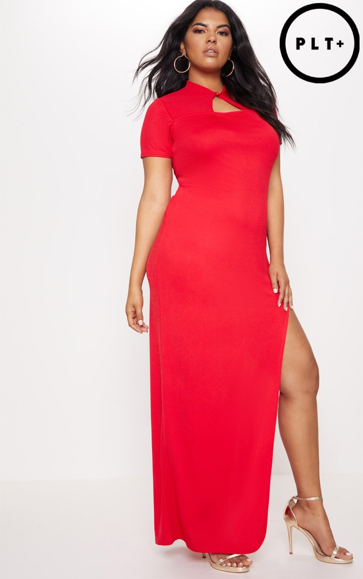 Plus Red Oriental Cut Out Detail Maxi Dress 1