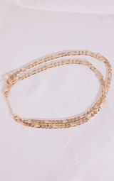 Gold Double Thin Curb Chain Necklace 4