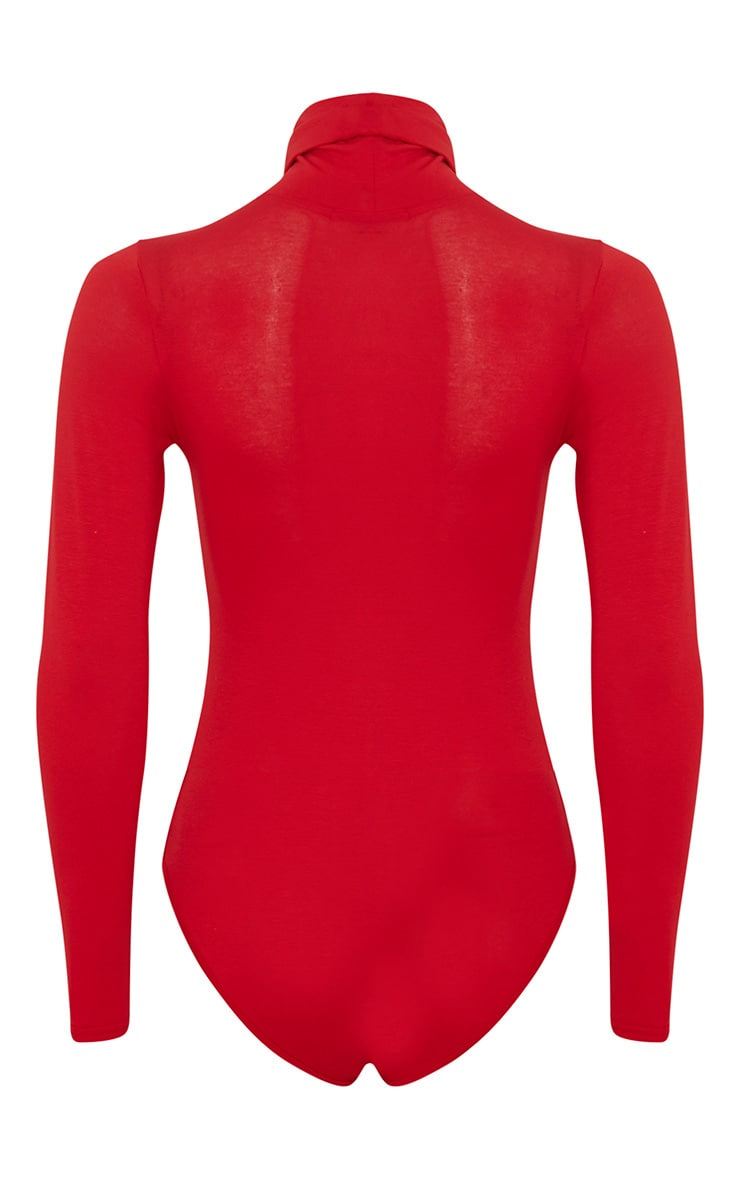 Basic Red Roll Neck Bodysuit 8
