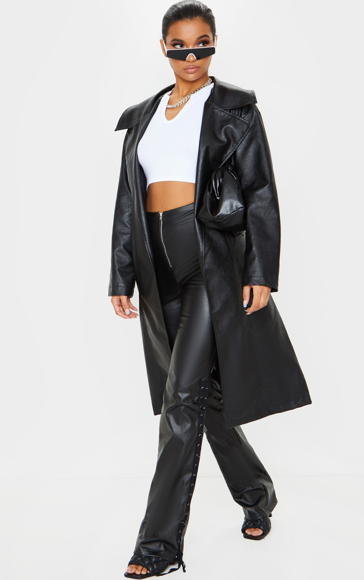 Black Faux Leather Oversized Midi Trench Coat 3
