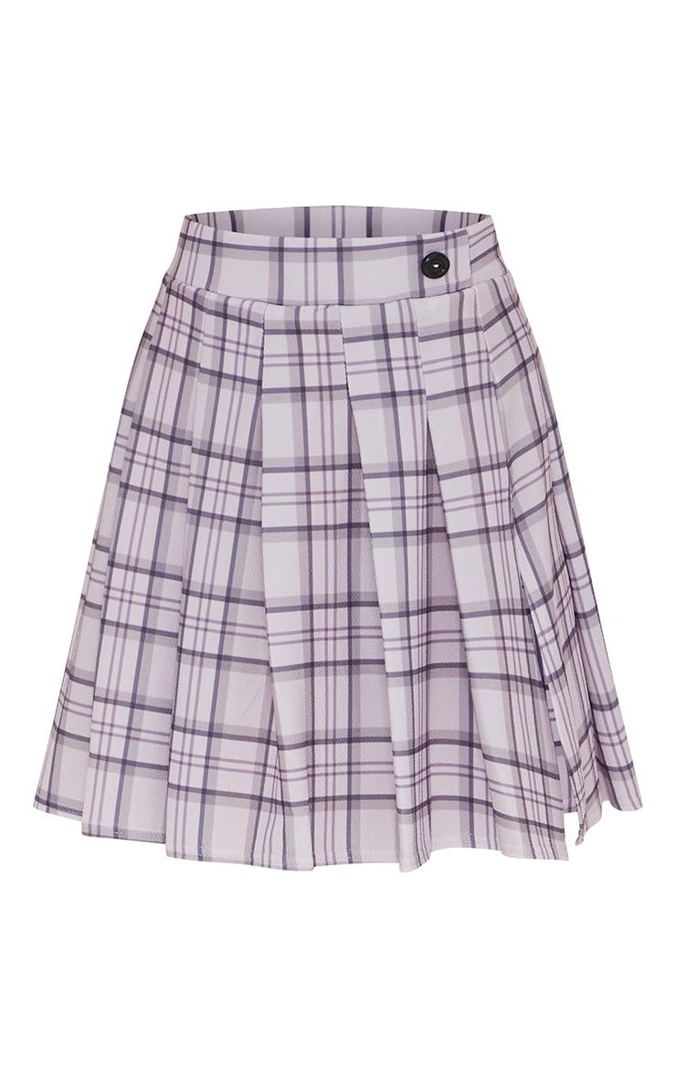 Lilac Check Tennis Side Split Skirt 6