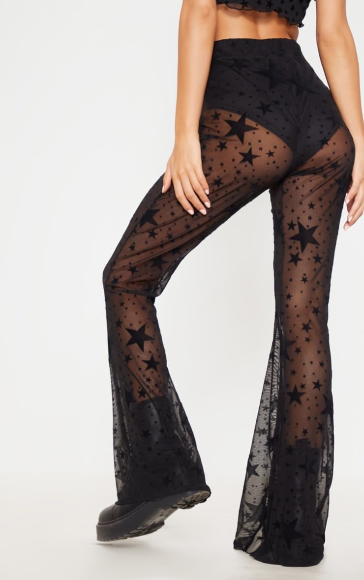 Black Mesh Star Flock Flared Trouser 4