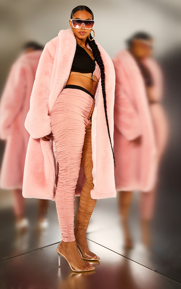 Pink Premium Maxi Oversized Faux Fur Coat 3