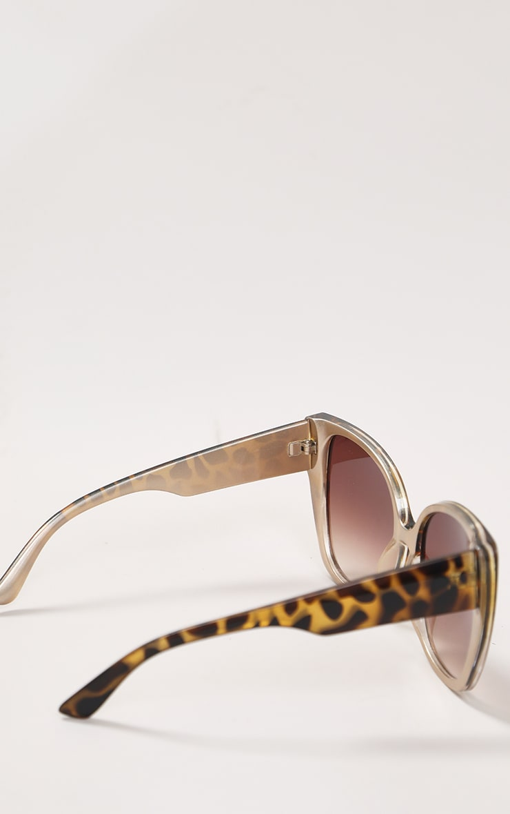 Brown Half Tort Oversized Cat Eye Sunglasses 2