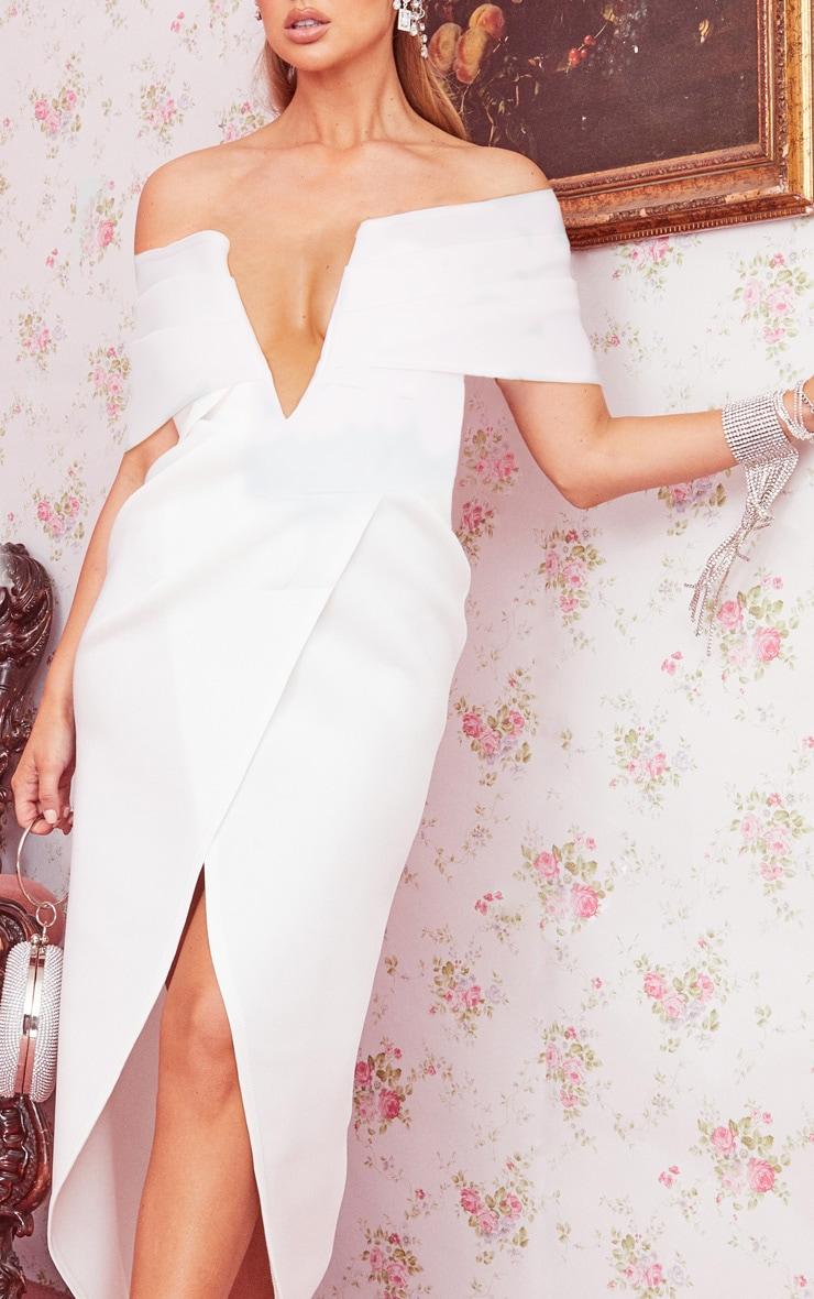 White Scuba V Bar Drape Bardot Maxi Dress 4