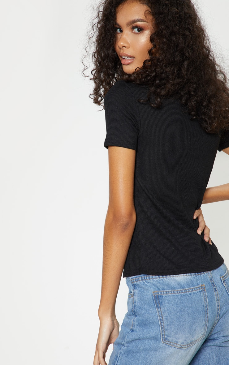Black Rib High Neck Short Sleeve Top 2