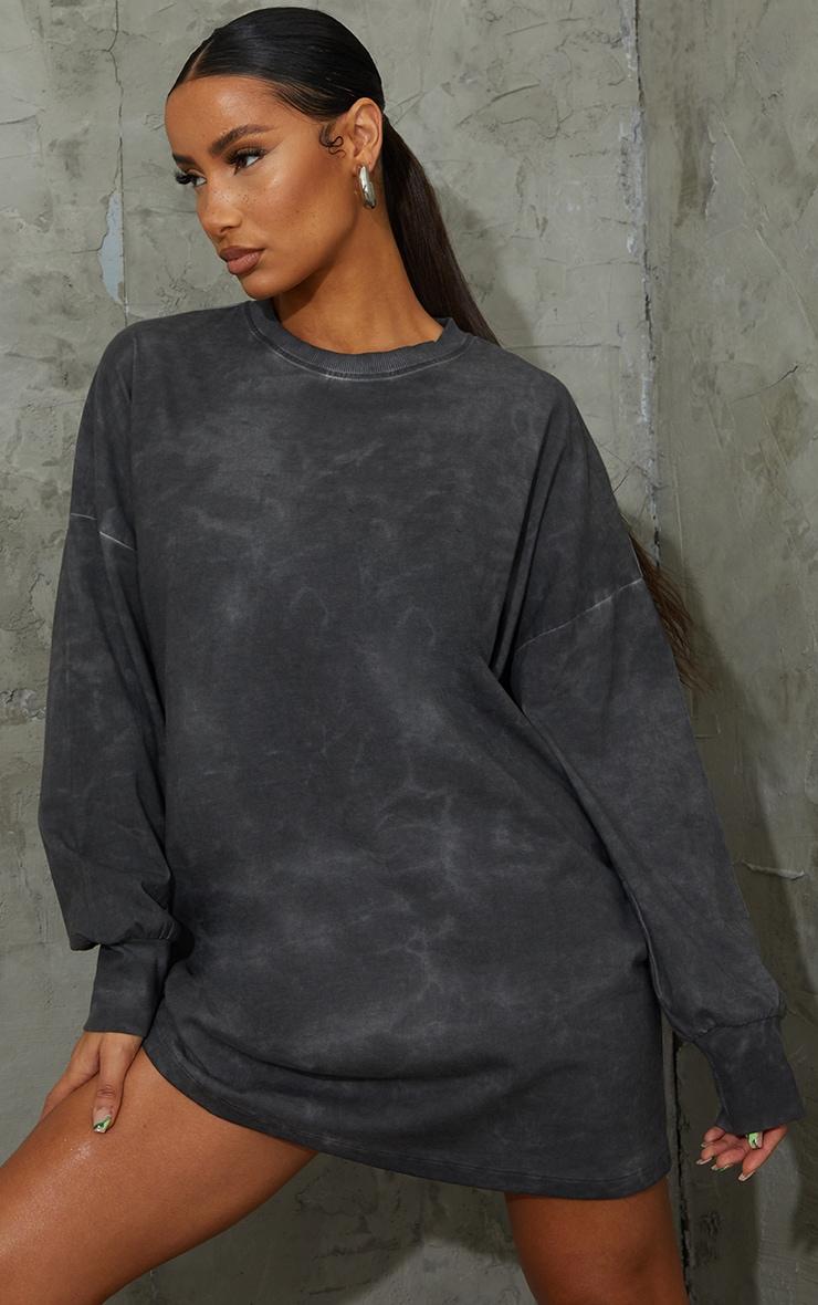 Charcoal Long Sleeve Tie Dye T Shirt Dress 1