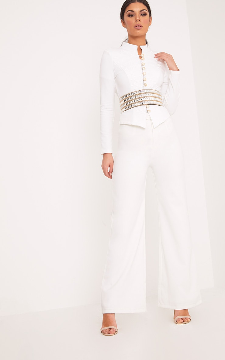 Zoeey White Slim Fit Cropped Military Jacket 5