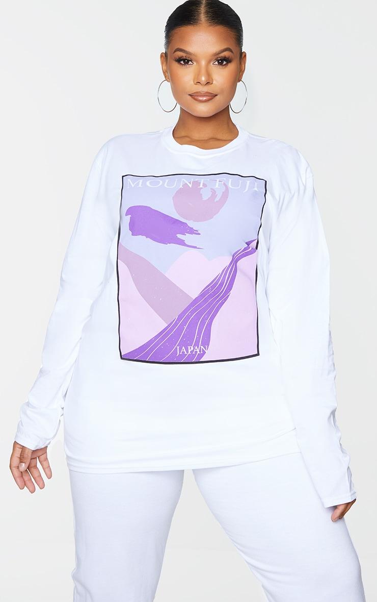 Plus White Mount Fuji Printed Long Sleeve T-Shirt 1